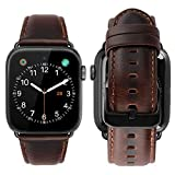 iBazal Compatible with Apple Watch Band 42mm 44mm,Genuine Leather Bands Replacement Strap for iWatch Series 4 44mm Series 3 Series 2 Series 1 42mm Sports & Edition Men Women-42/44mm Coffee+Black Clasp