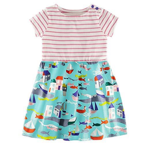 BIBNice Toddler Girls Dress Summer Clothes Basic Stripe Dresses 2T
