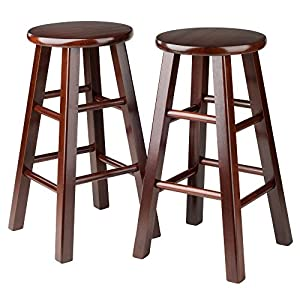 Winsome 24-Inch Square Leg Counter Stool, Set of 2
