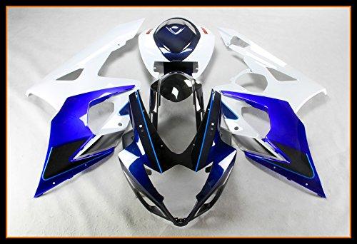 Protek ABS Plastic Injection Mold Full Fairings Set Bodywork With Heat Shield Windscreen for 2005 2006 Suzuki GSXR1000 GSXR 1000 White Blue