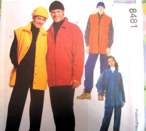 McCall's Sewing Pattern 8481 Misses' & Mens' Fleece Shirt-Jacket, Vest, Pull-on Pants & Hat, Size SM, MED, LG - Polar Fleece Hat Patterns