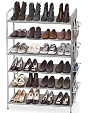 SimpleHouseware 6-Tier Shoe Rack Storage Organizer 34-Pair w/Side Hanging Bag, Grey