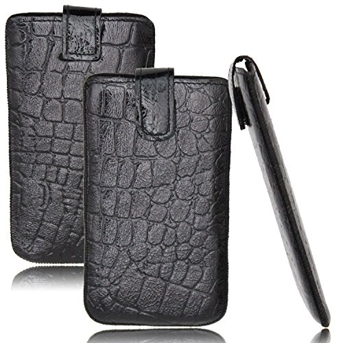 Starberry® Echt Ledercase für Huawei P10 Plus in Schwarz Kroko Look Tasche + ECHT Rindsleder + Top Qualität Design Polsterung Leder Handytasche Schutz Hülle Ausziehbar Schutzhülle Schlaufe Premium Etu Onyx-SCHWARZ