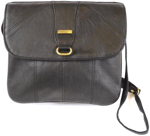 Ladies Super Soft Nappa Leather Shoulder Bag / Cross Body Bag ( Black (Nappa Leather Flap Handbag)