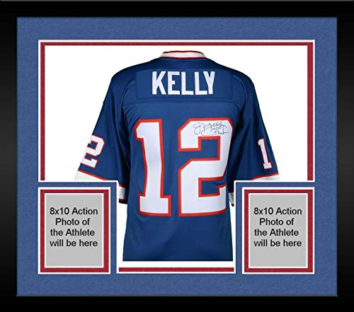 Framed Jim Kelly Buffalo Bills Autographed Mitchell & Ness Blue Replica Jersey with