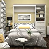 Bestar Versatile 84 Full Wall Bed with 3-Drawer Storage Unit in White