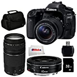 Canon EOS 80D DSLR Camera Bundle Includes Canon EF-S 18-55mm f/3.5-5.6 IS STM Lens + Canon EF 75-300mm f/4-5.6 III Lens + Canon EF 40mm f/2.8 STM Lens + 32GB SD Memory Card + Carrying Case & More!
