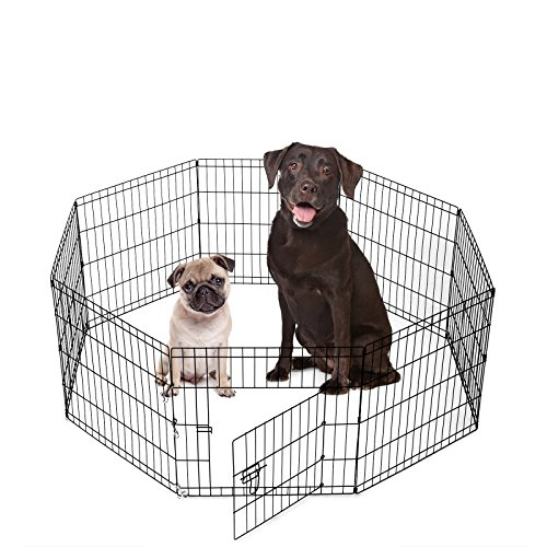 Cheap SmithBuilt Crates 8 Panel Metal Wire Popup Portable Fence Playpen Folding Exercise Yard with Door and Carry Bag, 24-Inch High, Black