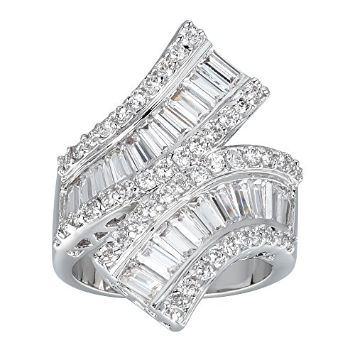 Ladies Cocktail Ring (Delicin Jewelry Rhodium Plated Cubic Zirconia Wrap Double Band Cocktail Ring)