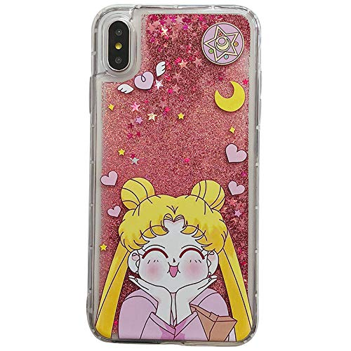 separation shoes 7d403 2256a Pink Glitter Flowing Clear Sailor Moon Case iPhone Xs X iPhoneX Cartoon  Shockproof Protective Kawaii Glittery Liquid Floating Transparent Girls  Teens ...