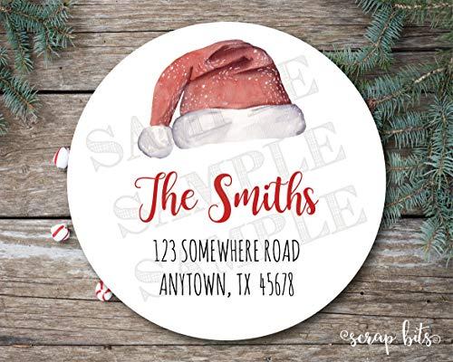 Moira Santa Hat Address Labels Santa Hat Labels Return Address Labels Holiday Address Labels Christmas Stickers Envelope Seal