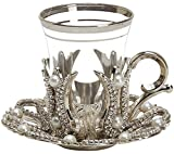 Set of 6 Turkish Style Tea Glasses with Brass Holder Saucer and Spoons Set Silver Plated 24 Pieces