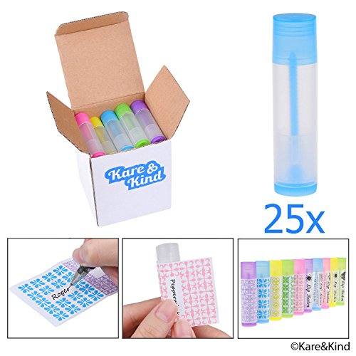 Lip Balm Container Tubes 25pcs w/ Writeable Stickers Colors
