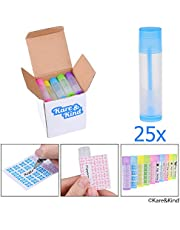 (25 pack, Multi Color) - Lip Balm Container Tubes - 25-Pack (5x5 colours) - DIY - 3/16 Oz (5.5 ml) - Including 25 Writeable (5x5 colours) & 25 Printed Stickers - Twist Mechanism and Cap - Empty - Make Lip Balm Chapsticks