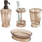 mDesign 4-Piece Bath Vanity Accessories Set, Soap Dispenser, Tootbrush holder, Tumbler, Soap Dish, Sand