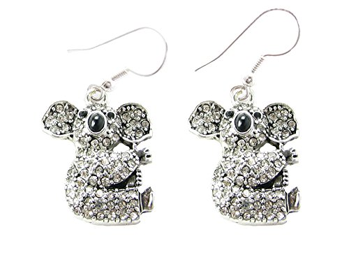 Koala Bear Black & Clear Crystals Silver Fashion Dangle E...