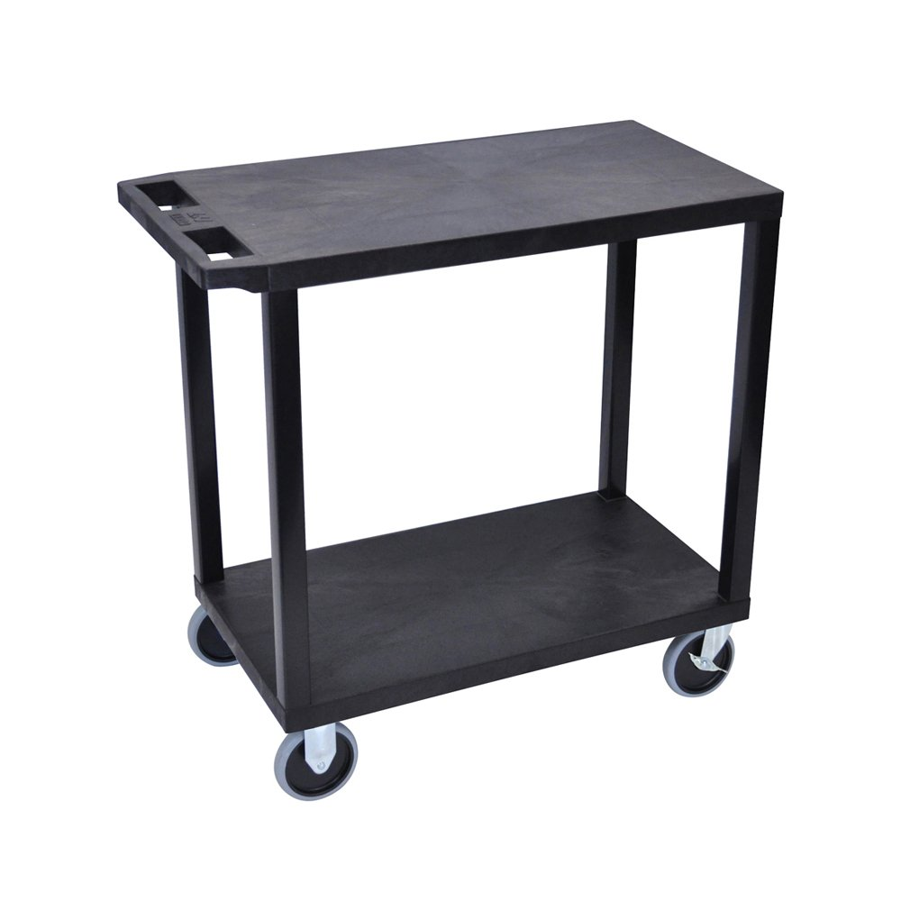 Offex 18 x 32 Inches Cart with 2 Flat Shelves, Black OF-EC22HD-B