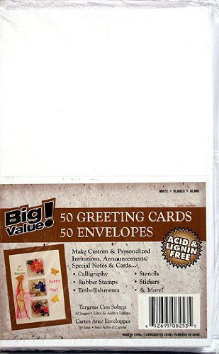 """Blank Cards and Envelopes - White - 4.25"""" x 5.5"""" - 50 pcs - Value Pack"""