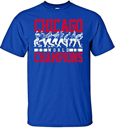 MLB Chicago Cubs 2016 World Series Champions Team Lineup Design T-Shirt, Large, Royal