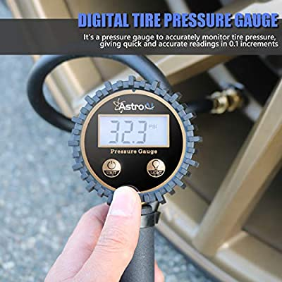 AstroAI ATG250 Digital Tire Inflator with Pressure Gauge, 250 PSI Air Chuck and Compressor Accessories Heavy Duty with Rubber Hose and Quick Connect Coupler for 0.1 Display Resolution: Automotive