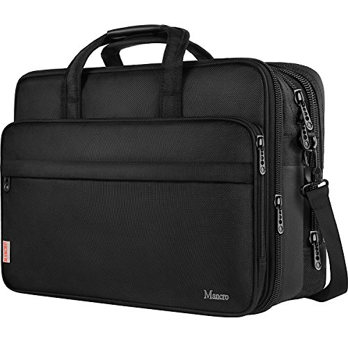 17 inch Laptop Bag, Large Business Briefcase Men Women, Travel Laptop Case Shoulder Bag, Waterproof Carrying Case Fits 15.6 17 inch Laptop, Expandable Computer Bag Notebook, Ultrabook