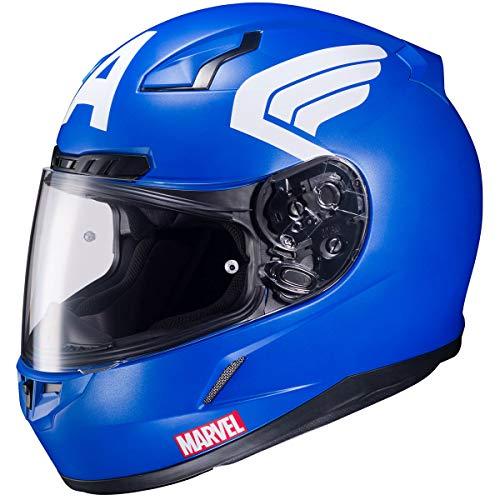 HJC Helmets Marvel CL-17 Unisex-Adult Full Face CAPTAIN AMERICA Street Motorcycle Helmet (Blue/White, X-Large) (Helmet Motorcycle Captain America)