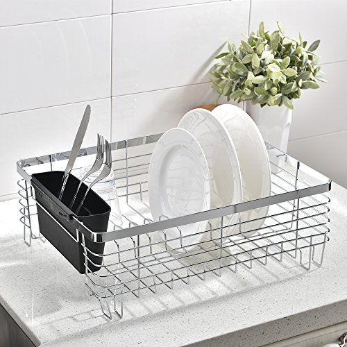 Wtape Best Commercial Steel Rust Proof Kitchen In Sink Side Draining Dish Drying Rack, Black Dish Rack With Black Cutlery Bin