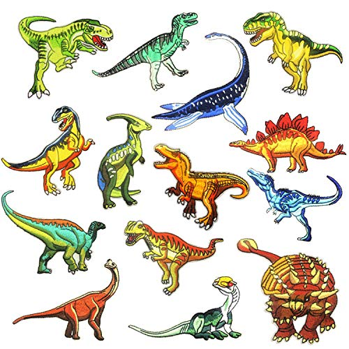 Dinosaur Iron on Patches, Woohome 14 PCS Dinosaur Theme Logo Series Iron on Patches DIY Sew Decoration Appliques Stickers for Jeans Jacket, Clothing, Caps, Repair The Hole
