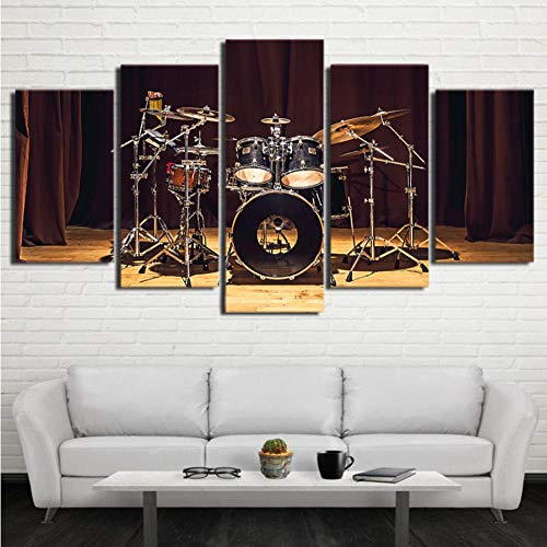 guanguangllf Canvas Art Mural 5 Pieces Rock Music Stage Drum Picture Poster Home Decoration Modular Living Room ()