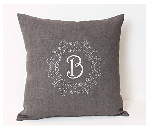 Gray pillowcase with Monogram Personalized pillow cover Personalized Linen pillowcase Grey Linen pillow cover with embroidery Cushion Cover Family name pillowcase - Tiffany Vouchers Gift