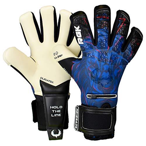 Renegade GK Limited Edition Rogue Guardian Goalie Gloves with Pro-Tek Fingersaves | 4mm Giga Grip & Neoprene | Black & Blue Goalkeeping Gloves (Size 9, Youth-Adult, Negative Cut, Level 4+)