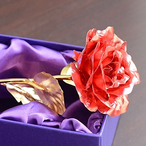 Artificial Flower Decorations, Artificial Flower Bulk Colorful Artificial Flower 24K Gold Plated Long Stem Rose Valentine Gift 1PC, Artificial Flower Arrangements For Home (Red)