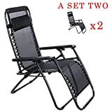 Fanala Zero Gravity Chair Outdoor Chaise Lounge Case Of (2) with Adjustable Pillow Supports 300lbs Outdoor Yard Beach Chiar (US STOCK) For Sale