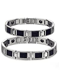 Titanium Stainless Steel Couple Magnetic Bracelet Matching Set Anti-fatigue, Pain-relief, Therapy Power