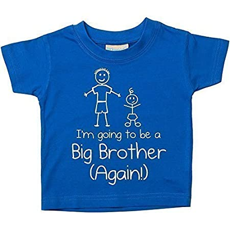 Blue I'm Going To Be A Big Brother Again Blue Tshirt Baby Toddler Kids Available in Sizes 0-6 Months to 14-15 Years New 60 Second Makeover Limited