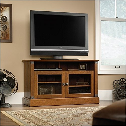 sauder-carson-forge-panel-tv-stand-washington-cherry-finish