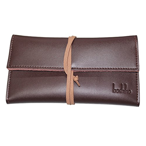 Boshiho Genuine Leather Roll Up Tobacco Pouch with Rolling Tip Paper Holder Slot (Red Brown (S)) ()