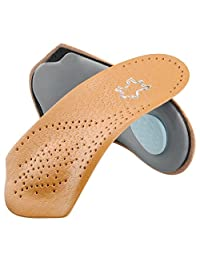 Orthotic Insoles by SOUMIT - Leather Foot Care Pads with Arch Support for Flat Foot, Fallen Arch, Valgus and X-legs