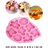 Simplegp 8 Cavity Insect Silicone Cake Mold Pan Decoration Fondant Baking Mold (Lady Bugs,Butterflies,Bees and Dragonflies)