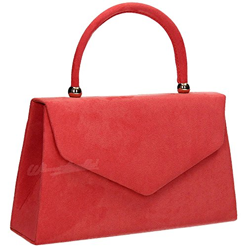 Womens Clutch Evening Suede Clutch Bag Red 1 Folds Wocharm Shoulder Ladies Bridal Handbag party Prom velvet Bag XwqdFT
