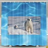 Shehe Bear And Her Baby Home Seasons Non-transparent Bathroom Bath Curtain Includes Plastic Hooks. Size 60*72inch White