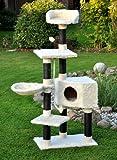 """nanook Arbre à chat """"Kevin"""" taille L 139 cm - très solide avec poteaux sisal noir - Couleur: blanc noir"""