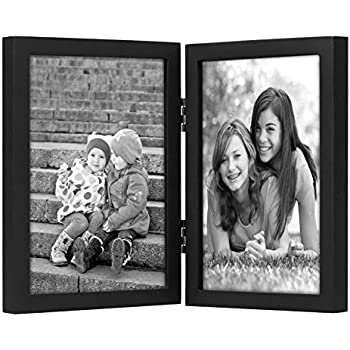 5x7 Inch Black Hinged Picture Frame with Glass Front, Stands Vertically on Desktop or Table Top