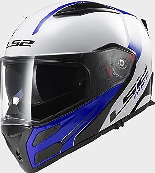 LS2 FF324 Metro rápido Blanco Azul Casco de Moto, Mujer Hombre, FF324, S