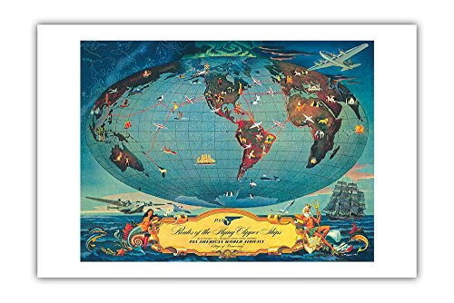 Routes of the Flying Clipper Ships - Pan American World Airways (PAA) - Wings of Democracy - Vintage Airline Travel Poster by L. Helguera c.1941 - Premium 290gsm Giclée Art Print - 24in x 36in ()
