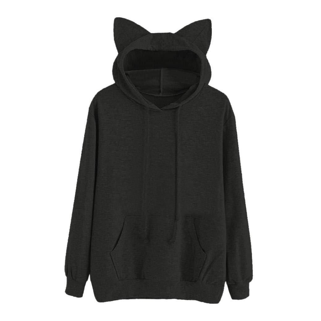 Anxinke Women Teen Girls Cute Cat Ear Long Sleeve Hoodies Pockets Sweatshirts (L, Black)