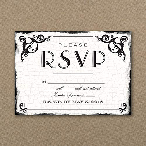 250pk Antique Filigree Frame - Response Card and Envelope-RSVP ()