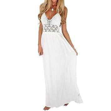 LuckyGirls Mujer Sexy Vestido de Fiesta Verano Sin Manga Halter Elegancia Blanco Crochet Heuco Cuello en