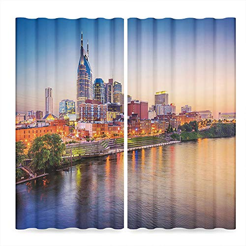 United States Window Curtains Blackout,Cumberland River Nashville Tennessee Evening Architecture Travel Destination,for Bedroom Living Dining Room Kids Youth Room, 2 Panel Set,103W X 72L Inches