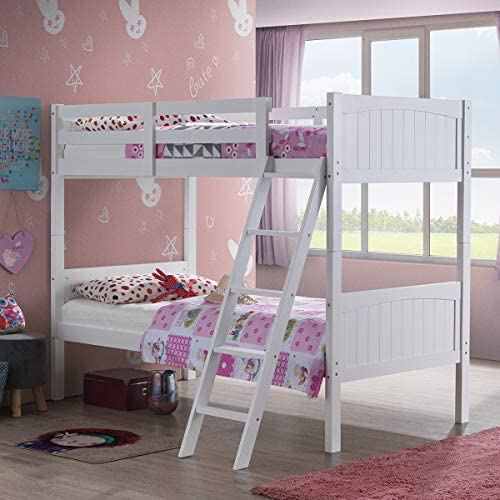 Costzon Wooden Twin Over Twin Bunk Beds Convertible 2 Individual Twin Bed
